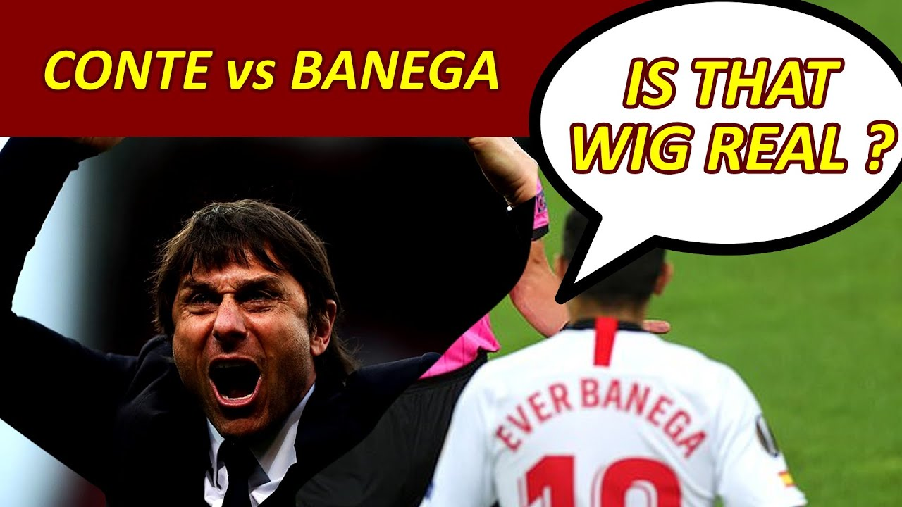 Banega vs Conte - Makes fun of Manager's hair Conte gets YELLOW ...