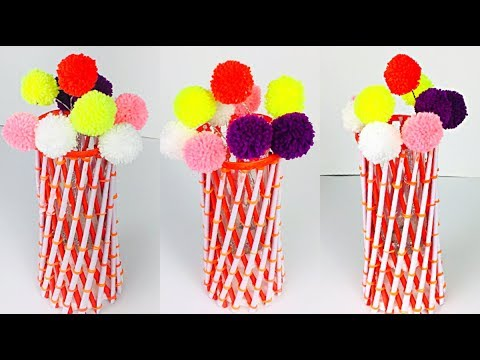 Handmade Flower Vase | Pom Pom Flowers With Wool | How To Make Flower Vase With Paper