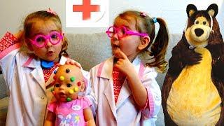 Настя заболела Играем с куклой и игрушкой Медведь Playing with the Doll and Bear Nursery Rhymes