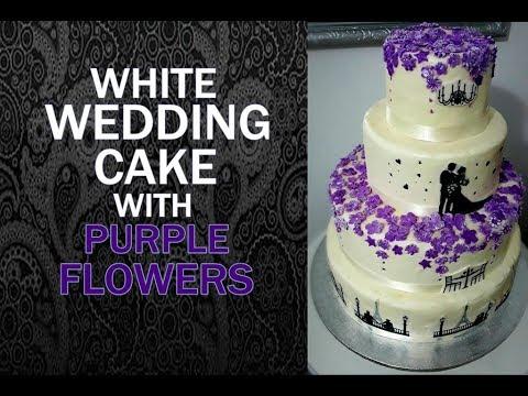 White wedding cake with purple flowers youtube mightylinksfo