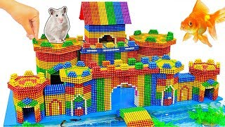 DIY - Build Hamster Castle Has Fish Pond Catfish With Magnetic Balls (Satisfying) - Magnet Balls
