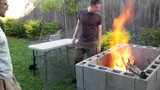 DIY backyard bbq pit. The break-in burn.