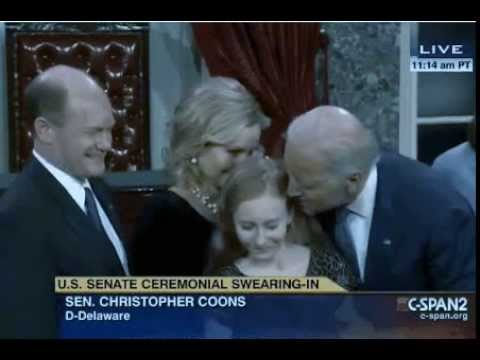 Joe Biden kisses Chris Coons