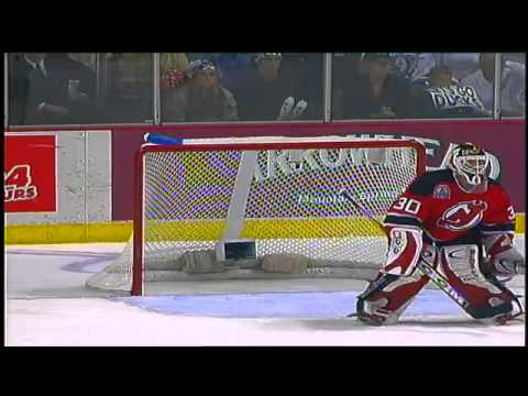 Unlucky Bounce: Martin Brodeur loses his stick and the lead