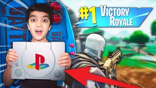 I will give my little brother a PLAYSTATION 1 if he beats me in a FORTNITE 1V1 & gets a VICTORY!