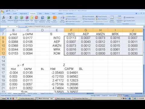 PT L20 The Black Litterman Model in Excel