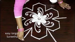 Cute flowers muggulu || Latest designs with dots || Easy rangoli kolam