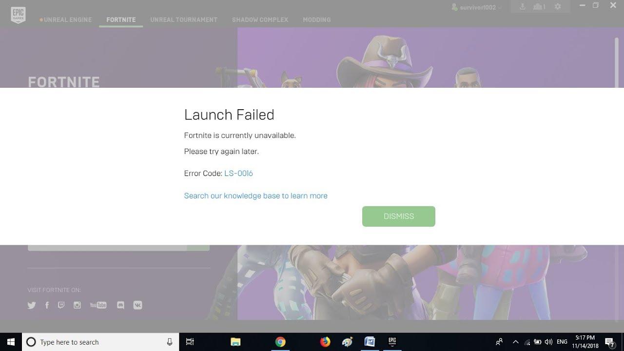 Fornite: Lunch Failed error code LS-0016 offline