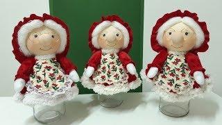 Como Fazer Mamãe Noel com Pote de Vidro