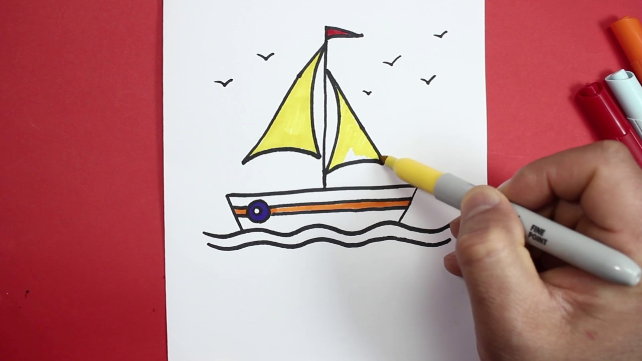 رسم سفينة رسم قارب صغير تعليم الرسم سهل How To Draw A Boat Youtube