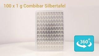 100 x 1 Gramm Silbertafel Combibar in 360° Ansicht