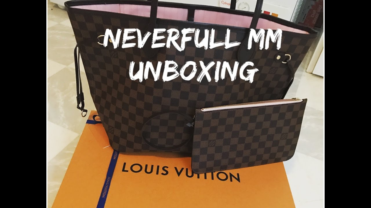 14a41a2abd9c UNBOXING Louis Vuitton neverfull mm damier ebene  rose ballerine - YouTube