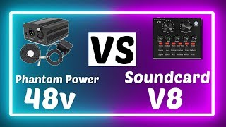 Soundcard V8 vs Phantom Power 48v Taffware ~ Review Audio Interface untuk Cover Lagu ~ Indonesia