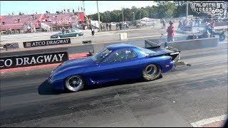 Billet 13B FD RX-7 Blows Rear Off The Starting Line