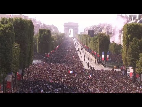 LIVE from Paris - France World Cup champions parade down Champs Elysee