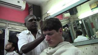 Christopher at the indian hairdresser