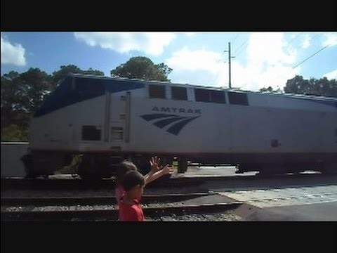 Children Watch Amtrak Train The Silver Star Fly By
