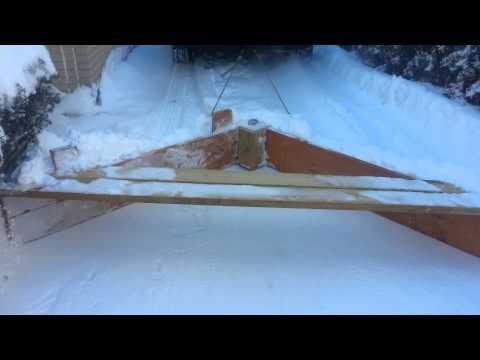 Homemade wooden snow plow