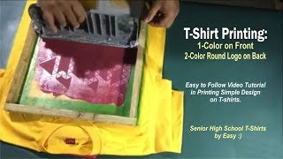 T-Shirt Printing - 1-Color on Front, 2-Color Round Logo on Back