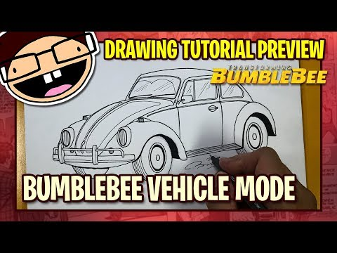 [PREVIEW] How to Draw BUMBLEBEE VEHICLE MODE / VOLKSWAGEN BEETLE | Tutorial Time Lapse