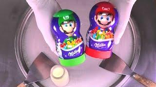 Milka Chocolate Ice Cream Rolls   Super Mario Brothers rolled Ice Cream with Luigi Toy   ASMR Food