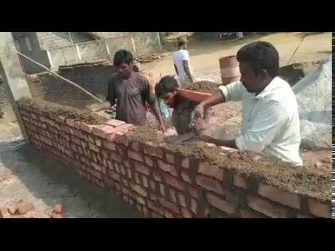 "9""(inch)Brick Wall Construction in INDIA 