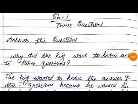 Three questions chapter 1 QUESTION ANSWERS full explaination class 7th  English