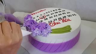 Trang trí bánh kem sinh nhật màu tím sang trọng