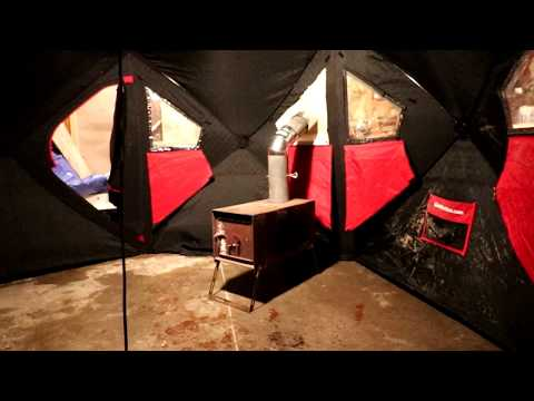Adding A Wood Stove Heating Option For Your Portable Pop Up Fish House. How To Make A Hot Tent.