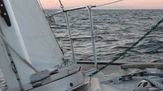 Contessa 26 Cavendysh-Sailing Lake Huron, Freighter Sighting