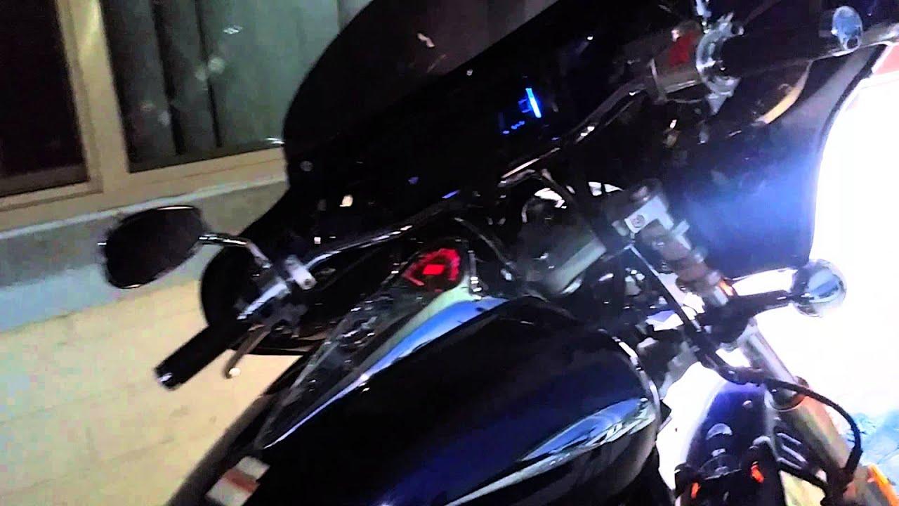Honda VTX 1300C batwing stereo installed - YouTube