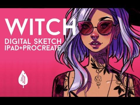 WITCH DIGITAL SKETCH IPAD PRO PROCREATE // JACQUELINDELEON