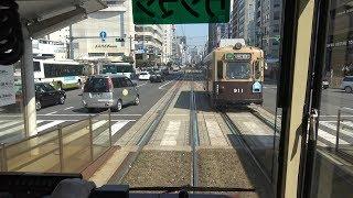 【4K前面展望】広島電鉄江波線(6号線)  江波-広島駅 広電800形809