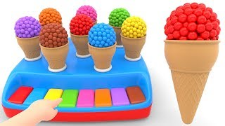 Learn Colors with Cone Ice cream For Children - Educational Videos