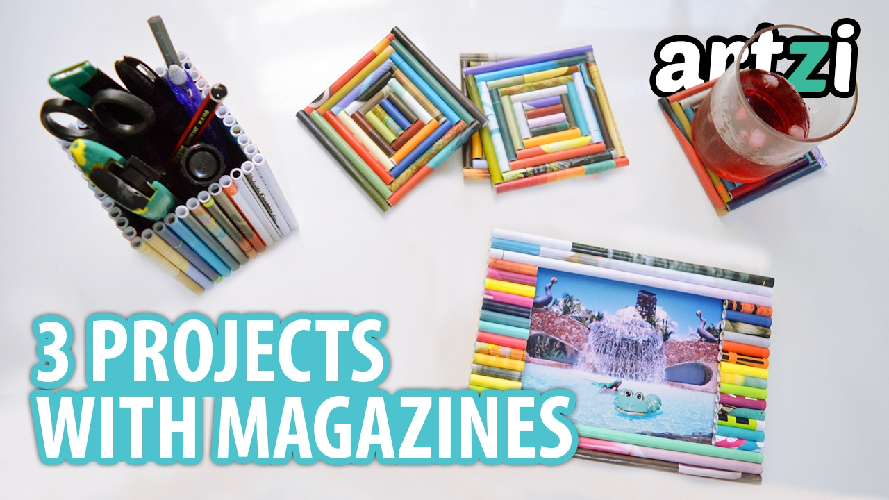 craft ideas with old magazine how to make picture frame coaster pencil holder youtube. Black Bedroom Furniture Sets. Home Design Ideas