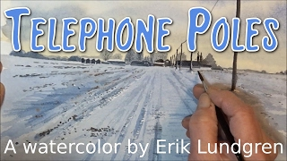 Telephone poles - A winter landscape in watercolor