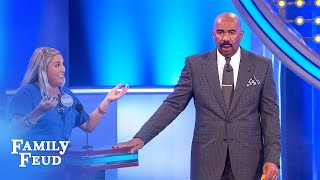 Steve simply can't believe Morgan's answer! | Family Feud