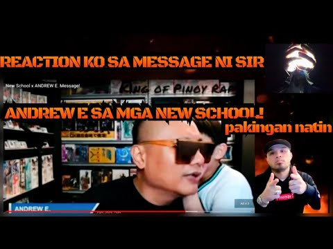 MESSAGE OF SIR ANDREW E. TO NEW SCHOOL REACTION