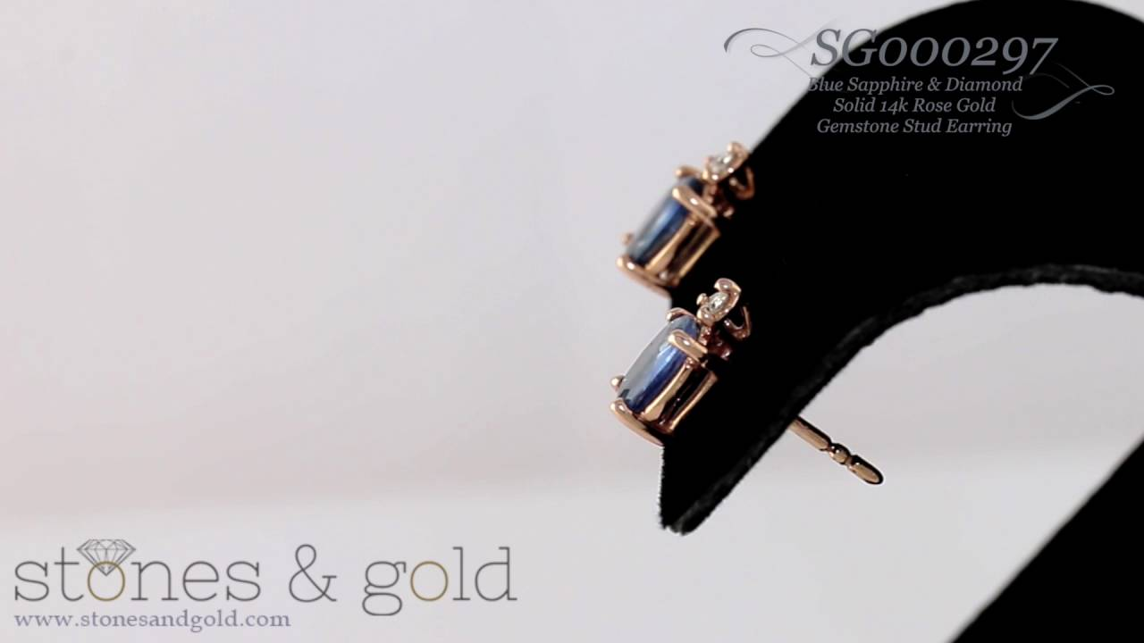 24d299d8a 5MM x 7MM Sapphire & Diamond Solid 14K Gold Stud Earrings | SG000297 ...