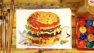 Как нарисовать БУРГЕР красками / урок рисования для детей