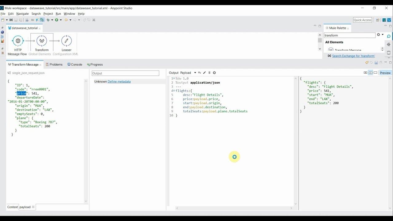 Data Weave Transformation Language in Mule Part II | Transform json array  using map operator
