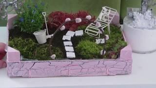 DIY - Garten für den Tisch in einer kleinen Obstkiste/ Fairy Garden