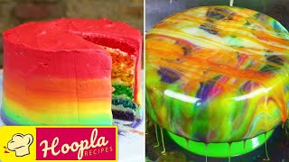 Rainbow Cake And Mirror Glaze Cake Recipe By Hooplakidz Recipes