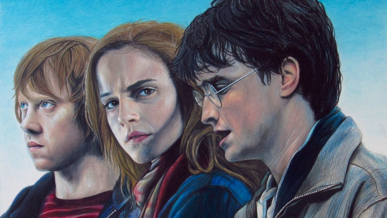 Drawing Harry Potter, Hermione Granger, and Ron Weasley with Color ...