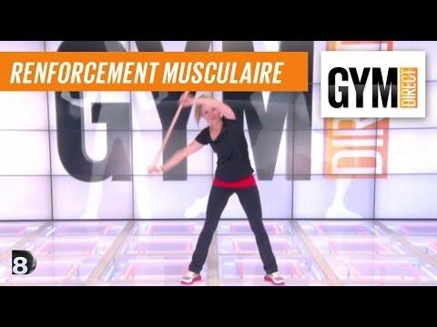 Cours gym : rent musculaire 10 : Avec un bâton