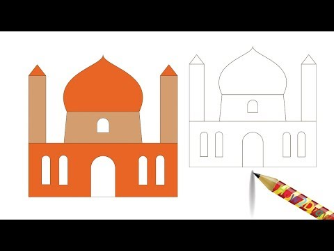 How to Draw a Mosque Easy Drawing - Coloring Page