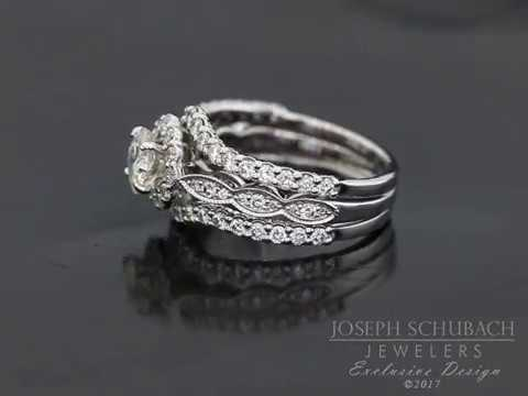 Cushion halo engagement ring with double wedding bands youtube cushion halo engagement ring with double wedding bands junglespirit Image collections