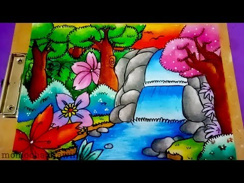 How to coloring WATERFALL with OIL PASTEL