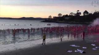 Hundreds swim nude in Hobart for Dark Mofo winter solstice skinny-dip – video