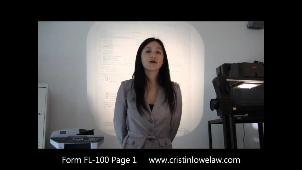 How to fill out California Divorce Petition Form FL 100 PG 1 (2013 ...